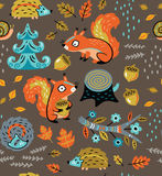 Autumn seamless pattern with squirrels, leaves, nuts and crew cut Stock Photos