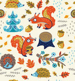 Autumn seamless pattern with squirrels, leaves, nuts and crew cut Stock Photography