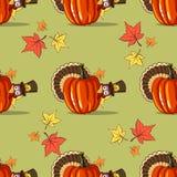 Autumn Seamless Pattern With Turkey Royaltyfri Bild