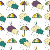 Autumn seamless pattern with umbrellas. Stock Photo