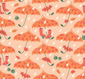 Autumn Seamless Pattern With Umbrellas und Gummi-Stiefel Stock Abbildung