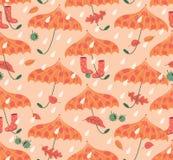 Autumn Seamless Pattern With Umbrellas y botas de goma stock de ilustración