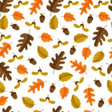 Autumn seamless pattern. Vector autumn seamless pattern with acorn, oak leaves. Autumn elements isolated on white background. Perfect for wallpaper, gift paper Stock Illustration