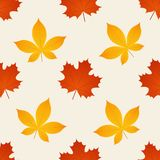 Autumn seamless pattern. Vector. Background with fall leaves. Autumn pattern. Vector. Seamless background with fall maple, chestnut leaves. Season wallpaper stock illustration