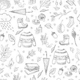 Autumn seamless pattern. Vector black and white handdrawn autumn seamless pattern. Autumn outline elements on background. Vector illustration Vector Illustration