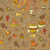 Autumn seamless pattern. Vector handdrawn autumn seamless pattern. Autumn elements  on background. Vector illustration Stock Image
