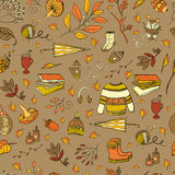 Autumn seamless pattern. Vector handdrawn autumn seamless pattern. Autumn elements on background. Vector illustration Royalty Free Illustration