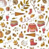 Autumn seamless pattern. Vector handdrawn autumn seamless pattern. Autumn elements on white background. Vector illustration Stock Illustration