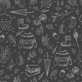 Autumn seamless pattern. Vector handdrawn autumn seamless pattern. Autumn outline elements on background. Vector illustration Stock Illustration