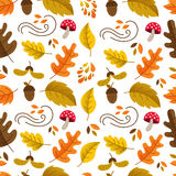 Autumn seamless pattern. Vector autumn seamless pattern with mushroom, acorn,oak and maple leaves. Autumn elements isolated on white background. Perfect for Stock Illustration