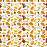 Autumn seamless pattern. Vector autumn seamless pattern with mushroom, acorn, oak and maple leaves. Autumn elements isolated on white background. Perfect for Vector Illustration