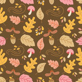 Autumn seamless pattern. Vector autumn seamless pattern with  mushroom, acorn,oak and maple leaves. Autumn elements. Perfect for wallpaper, gift paper, pattern Royalty Free Stock Image