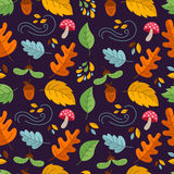 Autumn seamless pattern. Vector autumn seamless pattern with  mushroom, acorn,oak and maple leaves. Autumn elements. Perfect for wallpaper, gift paper, pattern Royalty Free Stock Photography