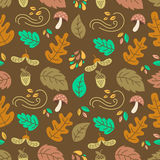 Autumn seamless pattern. Vector autumn seamless pattern with mushroom, acorn,oak and maple leaves. Autumn elements. Perfect for wallpaper, gift paper, web page Stock Illustration
