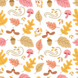 Autumn seamless pattern. Vector autumn seamless pattern with mushroom, acorn,oak and maple leaves. Autumn elements on white background. Perfect for wallpaper Stock Illustration