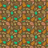 Autumn seamless pattern. Vector autumn seamless pattern with mushroom, acorn, oak and maple leaves. Autumn elements  on white background. Perfect for wallpaper Stock Photography