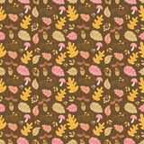 Autumn seamless pattern. Vector autumn seamless pattern with mushroom, acorn, oak and maple leaves. Autumn elements  on white background. Perfect for wallpaper Stock Photos