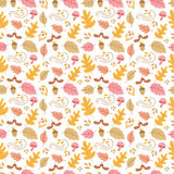 Autumn seamless pattern. Vector autumn seamless pattern with mushroom, acorn, oak and maple leaves. Autumn elements on white background. Perfect for wallpaper Stock Illustration