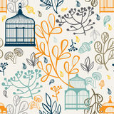 Autumn seamless pattern with vintage birdcages. Elements design of leaf Royalty Free Stock Photo