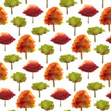 Autumn seamless pattern with watercolor trees. Bright illustration for fabric, wrapping paper and kids textile design. Autumn seamless pattern with watercolor Stock Image