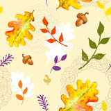 Autumn seamless pattern with watercolour leaves Royalty Free Stock Photos