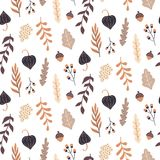 Autumn seamless pattern with wild floral elements. Hand drawn leaves, flowers, herbs, acorns. Vector wallpaper Vector Illustration