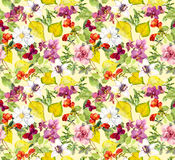 Autumn seamless pattern. Yellow leaves, flowers. Floral watercolor background Royalty Free Stock Photos