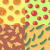 Autumn Seamless Patterns. Fall Endless Textures Royalty Free Stock Photography