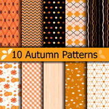 Autumn seamless patterns. 10 Autumn seamless patterns. Use for wallpaper, texture, fill, web page background, Set of halloween thanksgiving. swatches included Royalty Free Stock Photo