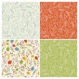 Autumn seamless patterns stock image