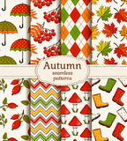 Autumn seamless patterns. Vector set. Royalty Free Stock Photography