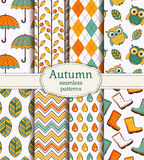 Autumn seamless patterns. Vector set. Royalty Free Stock Photos