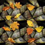 Autumn seamless relief stone pattern with colorful leaves Royalty Free Stock Image