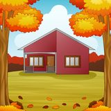 Autumn season background with red house and fall leaves. Illustration of Autumn season background with red house and fall leaves Royalty Free Stock Images