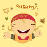 Autumn season cartoon character girl Stock Photo