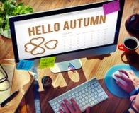 Autumn Season Change Falling Calendar-Organisatieklaver Concep Stock Fotografie