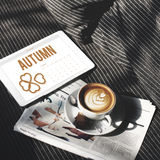 Autumn Season Change Falling Calendar-Organisations-Klee Concep Lizenzfreie Stockfotografie
