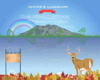 Autumn Season Design Vector Landscape. Vector scene, you can change this image that it was uploaded also with eps10 file Stock Photo
