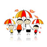 Autumn season. Family with umbrellas Royalty Free Stock Photography