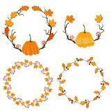 Autumn season frame with pumpkin, maple leaves and red berries, dry branch. Fall decoration element for cards and stock illustration