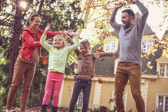 Autumn season is so fun for play outside. Royalty Free Stock Photography
