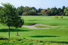 Autumn season on golf course. Beautiful sunny autumn day  on a golf course Stock Photography