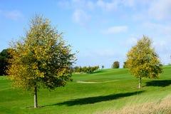 Autumn season on a golf course. Beautiful sunny autumn day  on a golf course Stock Photo