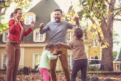 Autumn season is great for playing outside. On the move. royalty free stock photos