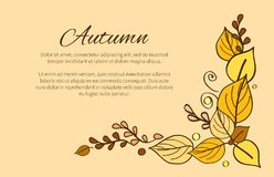 Autumn Season Greeting Card Decorated par le bouquet illustration stock