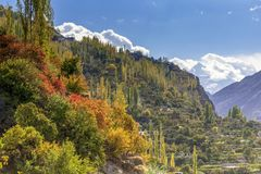 Autumn season in Hunza, Pakistan stock image