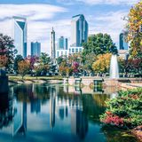 Autumn Season In Charlotte North Carolina Marshall Park Stock Images