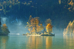 Autumn season on Konigssee lake Royalty Free Stock Image