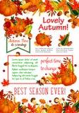 Autumn season leaf, fall harvest vegetable poster Royalty Free Stock Photo