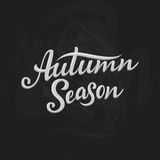 Autumn Season lettering. Hand drawn composition. Sketch, design elements for cards, prints, banners, posters and more. Vector illustration Stock Image